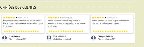Opinião dos clientes VinhoSite